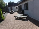 Patio at rear of house with BBQ