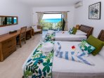 Guest Bedroom with 2 single beds and breathtaking seaview