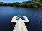 wharf with 2 kayaks