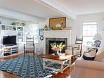 family room with natural gas fireplace