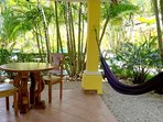 Villa 3 has one bedroom with a Queen bed, and with 1 sofabed outside. Private balcony and poolside.