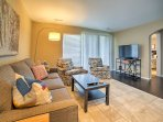 Curl up on the comfy furniture in the living area and watch your favorite shows on the flat-screen cable TV.