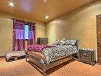 The Leather Room offers a queen-sized bed with twin-sized trundle.