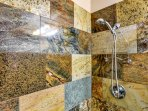 One of a kind granite block shower.