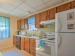 The kitchen features new appliances!
