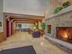 Enjoy the gas fireplace in the lobby