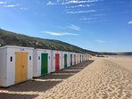 Morning sun on the beach huts - available for rent