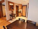 Front door and bathroom door, 4 seat dining table