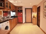 Large teak kitchen with washing machine,fully equipped
