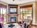 Snowbird 304 Living room TV and Gas Fire Place