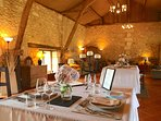 A four course meal is served in the converted barn