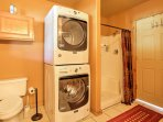 Clothes and towels will remain fresh and clean utilizing the in-unit laundry machines.