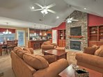 The spacious interior is well decorated with classic wood furnishings and modern accents.