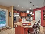 Cooking for 6 is an effortless task in this fully equipped kitchen.