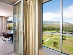 Step outside and enjoy a meal or beverage on the spacious balcony
