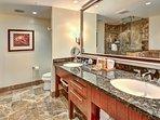 Second master bathroom also has a double granite vanity