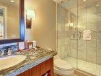 Guest bathroom with granite vanity and walk-in shower