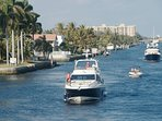 Walk to waterfront restaurants along the Intracoastal Waterway