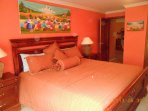Master bedroom, King size bed, private bath with walk in shower
