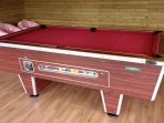 Pool table inside games shed
