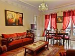 Dining is equipped with : dining table for 6 people, sofa, double sofa bed, armchair, decorative fir