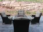 Propane firepit and 4 person chat set