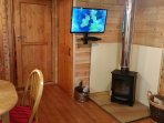 TV and woodburning stove