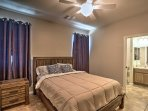 Each bedroom has a comfy queen-sized bed.