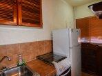 fridge/freezer, gas-stove and oven