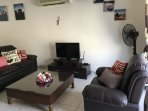 Living room with leather setty