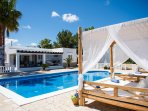 day beds by the pool