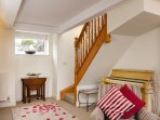 Stairs from the Dining Room lead down into Pilton House's large Living Room and to your relaxation.