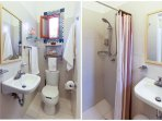 The bathroom is totally modern. The water is filtered and pressurized. Hot water is available 24/7.