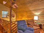 The wood-paneled ceilings give the cabin a true rustic feeling.