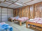 There are 3 full-sized Murphy beds in the converted garage.