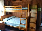 #4. Bunk bed with double bottom, single top. Drawer/steps for ease of use and storage.