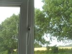 .. with views over farmland (from the bed!).