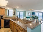 Views from this pristine kitchen even makes doing dishes fun