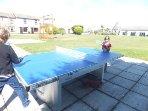Outdoor table tennis -- great fun