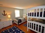 Twin bunk room with single twin