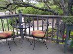 bistro chairs to watch the bird feeders, we supply a birding card and binoculars.