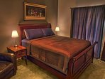 Barn Mater Bedroom  One queen sleigh bed, one single bed