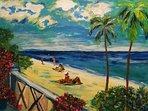 View from terrace of Carib Edge as seen by the artist Sophia Ivarsson