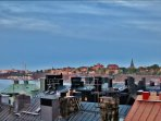 View of Södermalm from the roof deck.