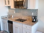 Convection microwave, flat top stove, Ikea cabinetry