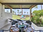 Enjoy an al fresco meal while admiring the views of the golf course and ocean.