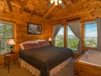 Loft bedroom: king bed, jacuzzi tub with breathtaking view