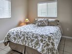 Spacious and clean bedrooms feature tile floors and fresh new bedding to sink into for some rest and relaxation