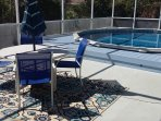 Another view of the beautiful&private  Pool and Patio area for you to enjoy a drink while kids swim!