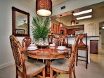 Dining table has seating for 8 guests.